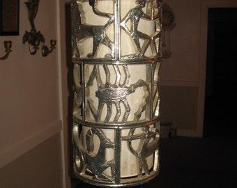 Unique,Rare 1960's Hollywood Regency Gold Gilt Zodiac hanging Pendant swag Lamp,Completely Original....