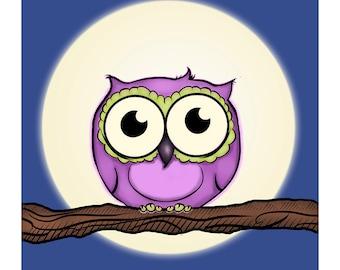 Baby Owl Art Print - Childrens Room - Nursery - 8x8
