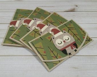 Christmas Gift Card Holder, Handmade Owl Gift Card Holder, Stocking Stuffer, Chistmas Owl, Individual or Set of 4, Easy Christmas Present