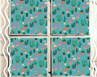 Doodle Cactus Tile Coaster