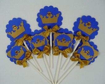 Royal prince  cupcake  toppers/ royal blue and gold/ royal crown/ royal theme/ Royal crown Cupcake  toppers/Crown Cupcake  toppers