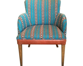 Newly Upholstered Vintage Chair in Leather