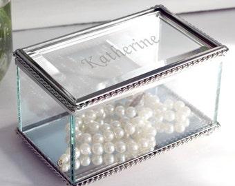 Personalized Beveled Glass Jewelry Box