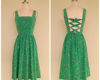 RESERVED RESERVED RESERVED Vintage Lanz Sundress // 60s 1960s Green Floral Dress // Open back Corset Lace Up Full Skirt // Small S