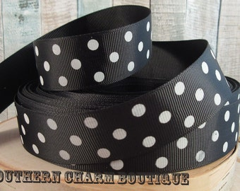 "3 yards of 1"" black/ white polka dot grosgrain ribbon"
