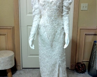 "Demetrios Wedding dress Beaded Lace /White Wedding Dress/Pagent Wedding Dress size S bust 34"""