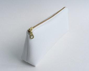 Small White Faux Leather Makeup Bag, Pencil Case, Zipper Pouch. Vegan Leather, Pleather, Vinyl, Gold Metal Zipper.