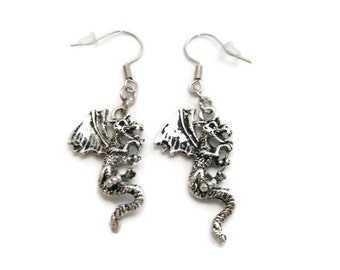 Dragon Earrings Dragon Jewelry  Mythology Gift Fantasy Earrings Mythology Earrings Dragon Gift Hooks Or Clip Ons