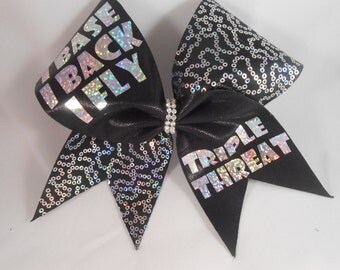 Cheer Bow ibase iback ifly TRIPLE THREAT by BlingItOnCheerBowz Black silver sequins