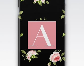 Case for iPhone 8, iPhone 6s,  iPhone 6 Plus,  iPhone 5s,  iPhone SE,  iPhone 5c,  iPhone 7,  Black & Pink Floral Monogrammed