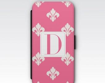 iPhone 7 wallet case, iPhone 6s wallet case, iPhone 6s plus wallet case, iPhone 5s wallet case - Pink and White Monogram Fleur de Lys Case