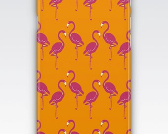 Case for iPhone 8, iPhone 6s,  iPhone 6 Plus,  iPhone 5s,  iPhone SE,  iPhone 5c,  iPhone 7  - Hot Pink & Orange Flamingo Pattern