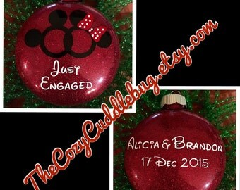 Disney Inspired Just Engaged Ornament-Mickey and Minnie Inspired-Just Engaged Ornament-Getting Married-Disney Ornament-Homemade-Christmas