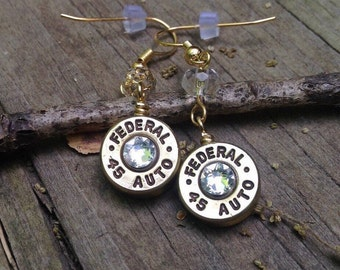 Bullet jewelry, bullet earrings, 45 caliber bullet dangle earrings, brass colored, bullets with crystals, redneck earrings