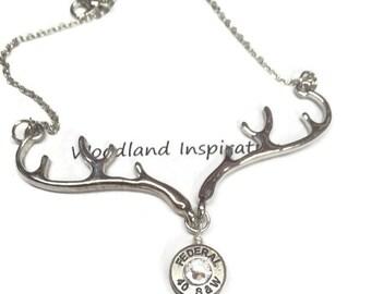 Bullet necklace, silver deer antler necklace with a bullet necklace, Swarovski crystal, bullet jewelry, brass redneck 40 caliber bullet