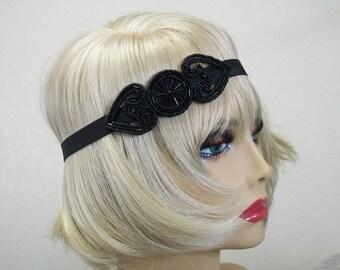 Flapper Headpiece Art Deco Headband 1920s Headpiece Downton Abby Headband Beaded Art Deco Black Beaded Headband Roaring 20s