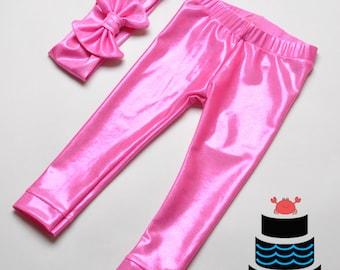 Metallic Bubble Gum Pink Leggings and Headband set Baby/Toddlers/Girls