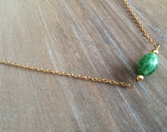 Delicate Turquoise Glass Bead Necklace - 14kt gold filled chain, handmade