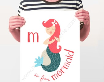 Digital Download, 11x14, Printable, Mermaid Print, Nautical Alphabet Print, Kid's Room Decor, Alphabet Print, Nursery Art