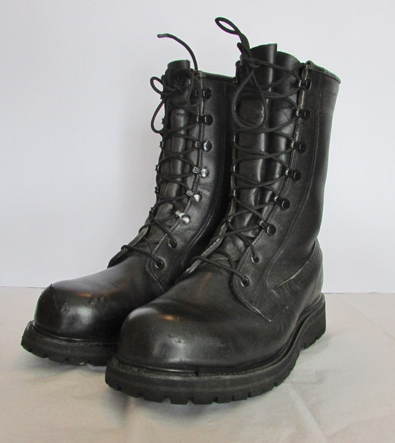 black leather combat boots mens size 8 womens size 10