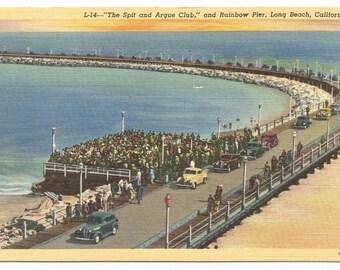 Long Beach, California Rainbow Pier Spit and Argue Club Linen Era Postcard