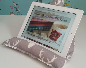 iPad / tablet / e-reader / technology beanie cradle, bean bag rest, lap cushion holder in stag printed cotton fabric.