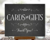 Cards and Gifts Sign, Chalkboard Printable Wedding Sign, Party, DIY, Digital (#CAR2C)