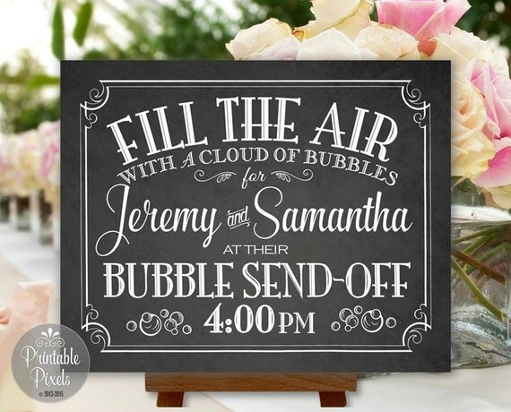 Bubble Send Off Sign Chalkboard Printable Wedding Digital Personalized ...