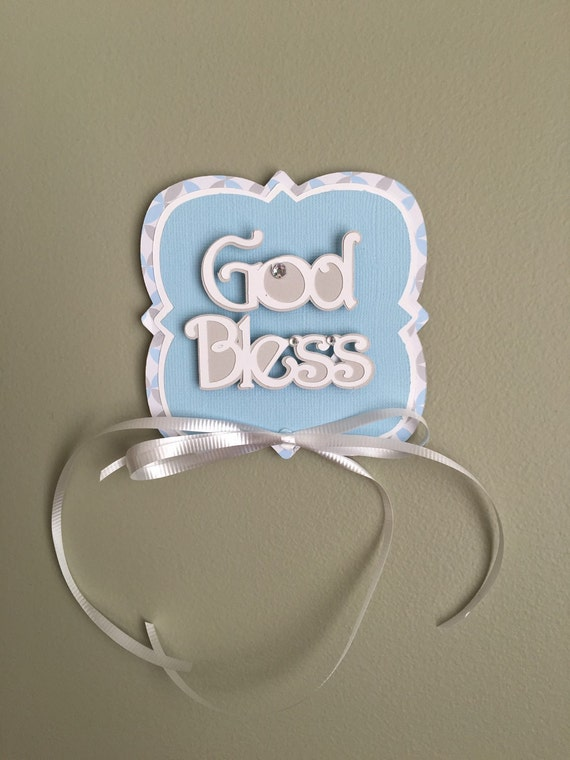 First Communion God Bless sign, Baptism, Christening Decoration, Personalized Centerpiece, Centerpiece, Celebration sign
