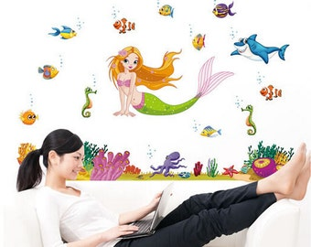 Mermaid wall decal - AW7292