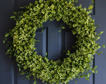 "XL Boxwood Wreath | 26"" Artificial Boxwood Wreath 