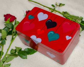 Big wooden box with hearts, red box