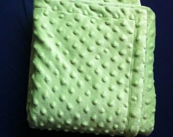 Double Minky Blanket - Green Dimple Dot, Gender Neutral