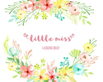 Watercolor Clipart Little Miss - Cheerful pink and yellow flowers and decorative elements for instant download