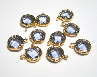 2pcs Medium Purple Glass Charms Pendant Gold Plated Brass Framed Faceted Flat Round( No.11G)