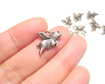 Antique Copper Small Flying Pig Charms Pendant Double Sided Animal charms Pendant