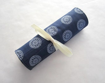 Makeup brush roll cosmetic roll navy bombay with ivory (MBR15-014)