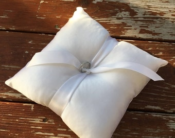 "6"" White Satin Ringbearer Pillow with rings"