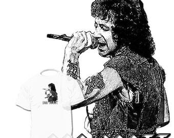 40% OFF Sale Bon Scott Drawing T shirt ------ AC Dc Angus Young Art Available