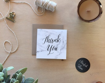 Marble Thank You Card Pack/ 10 cards 99mmx99mm when folded & 10 Envelopes