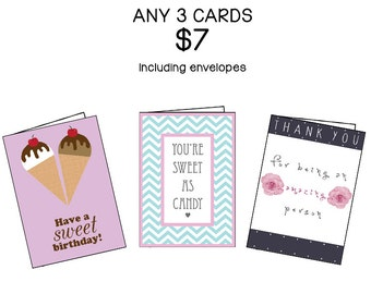 Three Card Set, Choose ANY 3 cards | Discount Variety Set