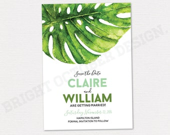 Tropical save the date card 5x7 | digital download