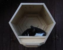 SALE! The Cat Cubby ~ Honeycomb hexagon cat shelf, wall-mounted cat cave, modular geometric cat house