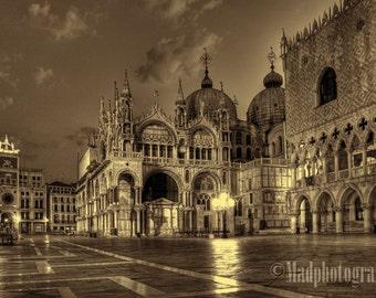 Venice Italy Photograph of St. Marks Square Pre-Dawn