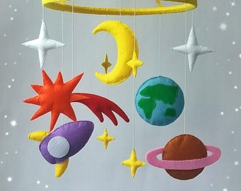 Space Crib mobile Baby mobile Nursery decor Baby crib mobile Baby mobile hanging Felt mobile crib mobile girl Crib mobile boy mobile