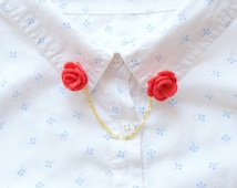 Flower collar clips | red collar pins for collared shirts and dresses