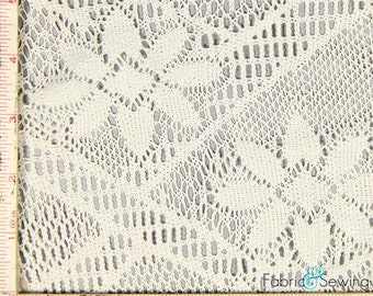 "White Geometric Flower Crochet Lace Fabric 2 Way Stretch Polyester 6 Oz 58-60"""