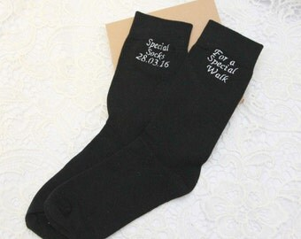 Black Luxury Cotton Rich Wedding Socks Brides .gift for father, Embroidered socks.