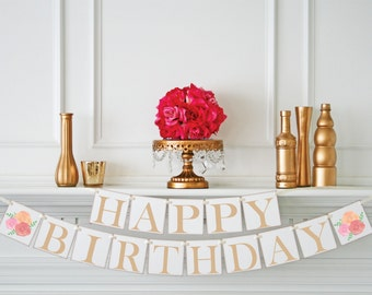 Shabby Chic HAPPY BIRTHDAY Banner - Happy Birthday Decorations - Happy Birthday Sign - Bloom Birthday Decor - Personalized Color
