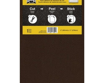 Dark Brown Color Leather And Vinyl Adhesive Repair Patch, Sticky Vinyl Adhesive For Cutting And Patching Leather Holes, Tears Or Fraying